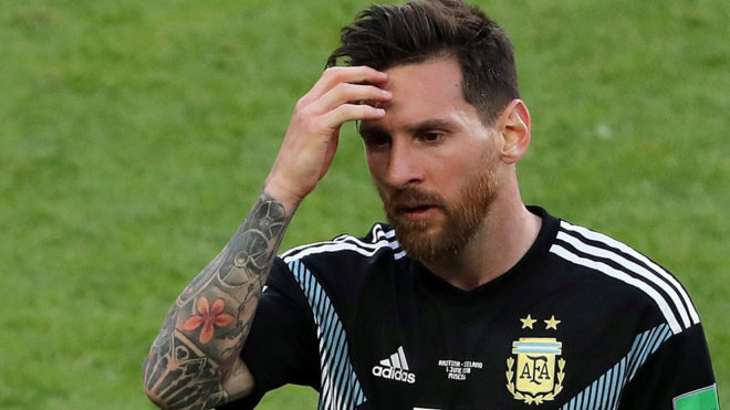 Leo Messi of Argentina reacts after the match between Argentina and.