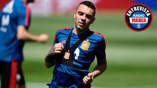 Iago Aspas en un entrenamiento con España.