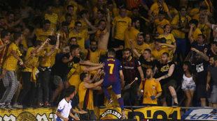 Dyego celebra el gol que forzó la prórroga.