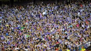 Afición del Real Valladolid celebrando el ascenso.