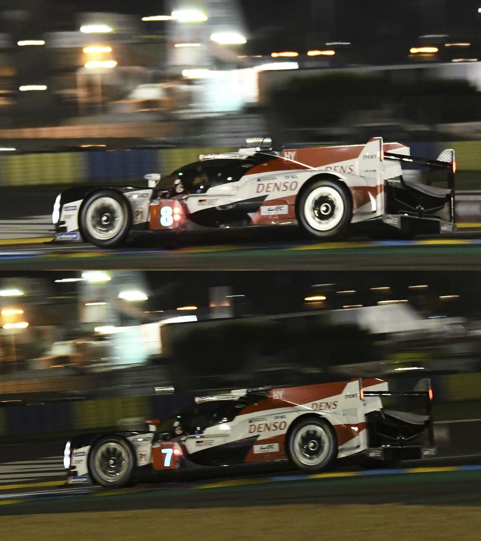 Alonso (arriba) y Pechito (abajo) en el mismo punto del circuito.