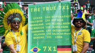 La pancarta de los brasileños 'corrigiendo' el 7-1