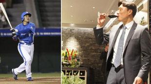 Lee Seung Yuop jugando al béisbol (izquierda) y catando vino...