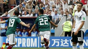 Lozano celebra el gol de México ante Alemania