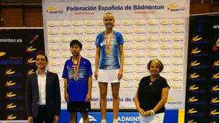 La danesa Michelle Skødstrup, en lo alto del podio