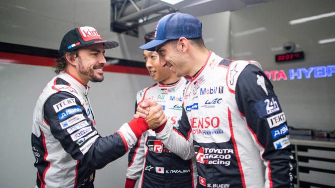 Buemi, Alonso and Nakajima celebrate the victory