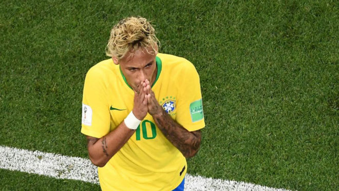 Neymar reacts during the  match between Brazil and Switzerland