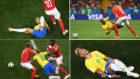 Cuatro faltas recibidas por Neymar