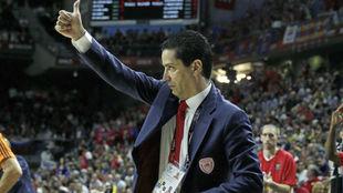 Giannis Sfairopoulos tras ganar al CSKA en la Final Four de Madrid...