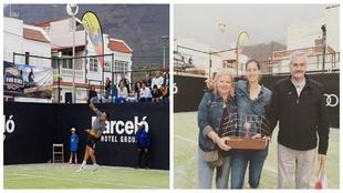 Ricardo Villacorta en acción y Arabela Fernández, con su trofeo de...