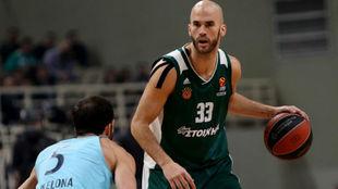 Nick Calathes jugando un partido de Euroliga entre Panathinaikos y...