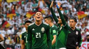 Los jugadores mexicanos celebran el triunfo ante Alemania