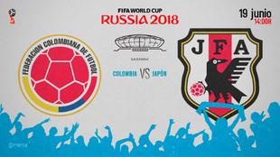 Partido Colombia vs Japón el martes 19 de junio a las 14:00