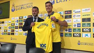 Mantovani, en su presentación como jugador de Las Palmas.