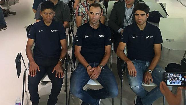 Alejandro Valverde, entre Nairo Quintana y Mikel Landa.