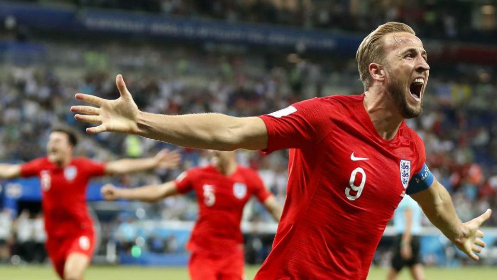 Kane celebra el gol de la victoria ante Túnez.