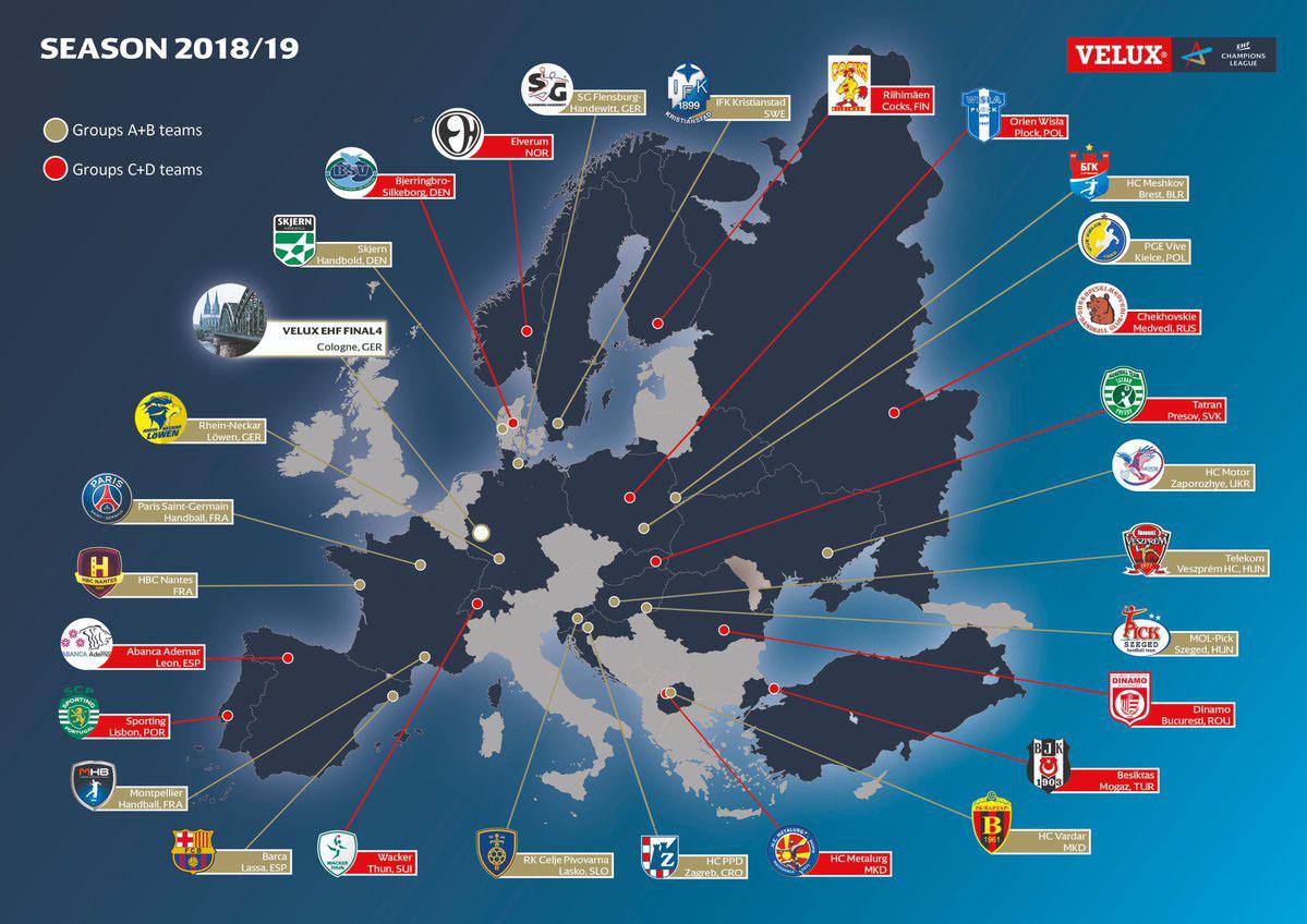 El mapa con todos los clubes participantes en la Champions League...