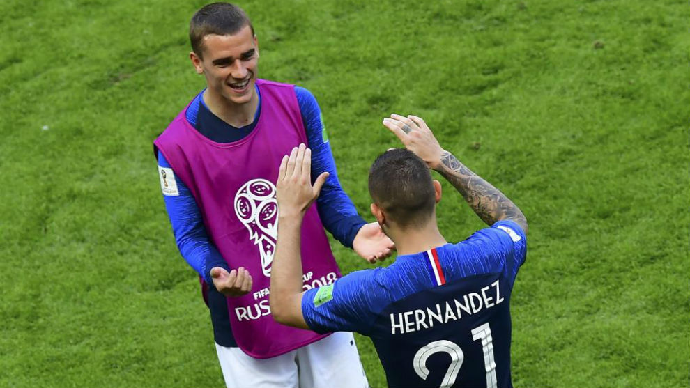 France's forward Antoine Griezmann and defender Lucas Hernandez.