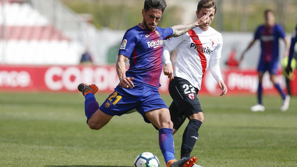 David Costas durante un partido con el Barcelona b ante el Sevilla...