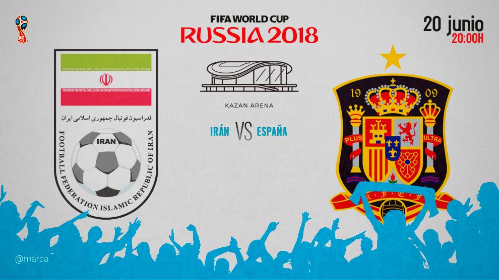 Partido Irán vs España hoy miércoles 20 de junio a las 20:00