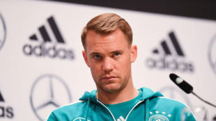 Germany's Manuel Neuer attends a press conference at the team's base...