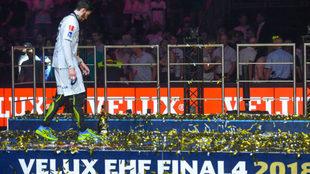 Ludovic Fabregas, durante la celebración de la consecución de la...