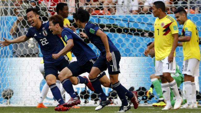 Japón celebra el gol de Osako a Colombia