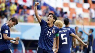 Varios jugadores de Japón celebrando un gol