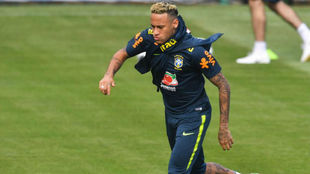 Neymar, en el entrenamiento de este martes