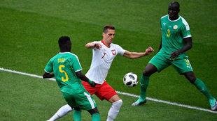 Poland's Milik takes on Senegal's midfielder Idrissa Gana...
