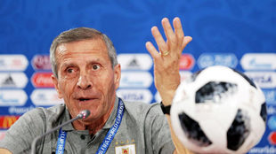 Uruguay's head coach Oscar Tabarez attends a press conference in...