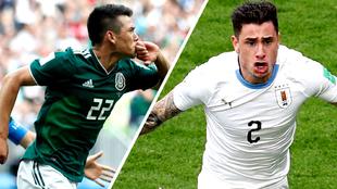 Hirving Lozano y José María Giménez festejan los goles de México y...