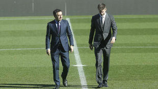 Josep Maria Bartomeu and Gerard Pique.