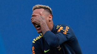 Neymar reacts during a training session of Brazil national football...