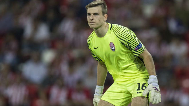 Lunin, en un partido de Europa League ante el Athletic