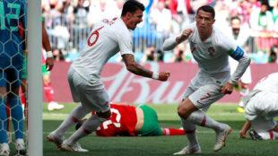 Cristiano Ronaldo, tras marcar ante Marruecos.