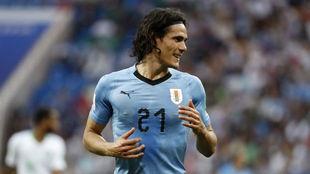 Cavani, durante el partido contra Uruguay.