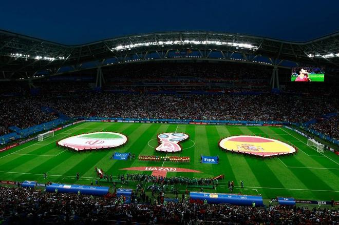 A general view shows the Kazan Arena during the Russia 2018 World Cup...