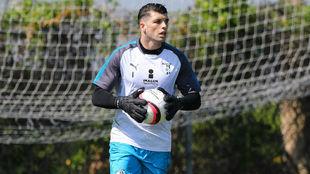 Tiago Volpi, en el entrenamiento de Querétaro