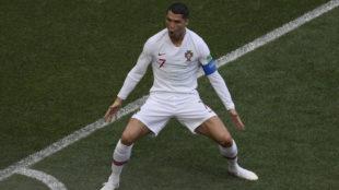 Cristiano celebra su gol a Marruecos.