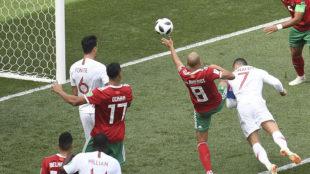 Cristiano Ronaldo of Portugal scores the 1-0.