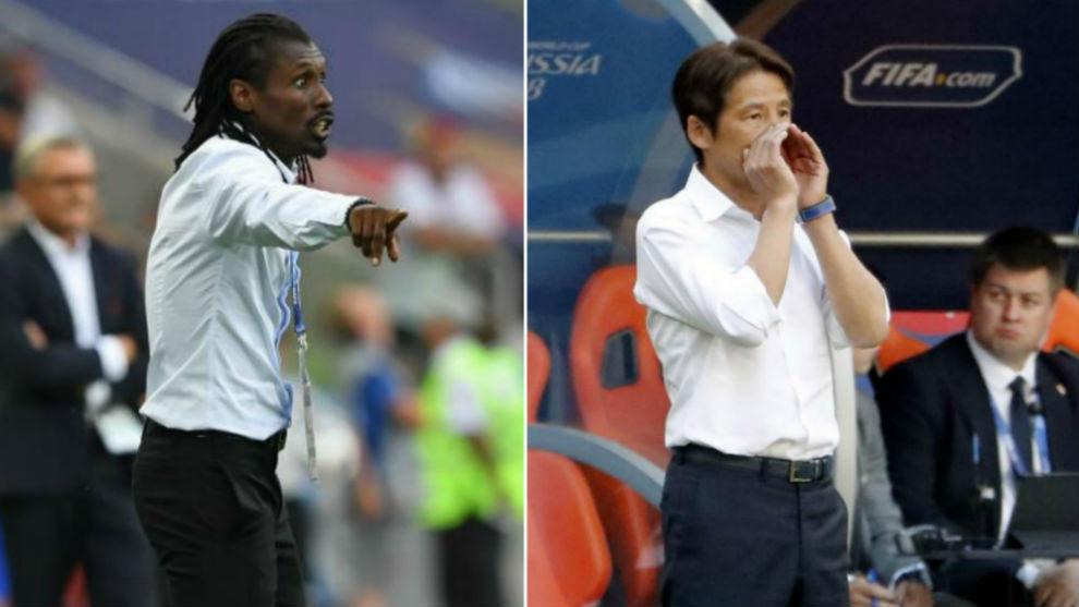 Cissé y Nishino, dando indicaciones durante sus partidos en el...