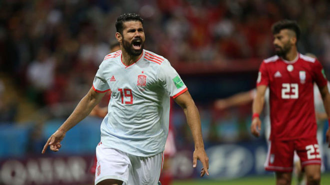Diego Costa celebrates his goal during the match between Iran and...