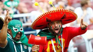 Afiicionados durante el partido entre Alemania y México en el Mundial...