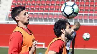 Langlet y Nico Pareja, en un entrenamiento.