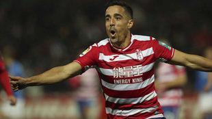 Pedro Sánchez celebra un gol con el Granada.
