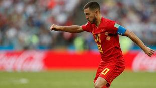 Hazard en el partido ante Túnez