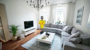 El salón del piso de Marcus Berg en Gotemburgo.