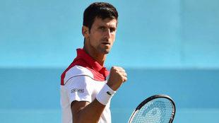 Novack Djokovic celebra su victoria ante Dimitrov