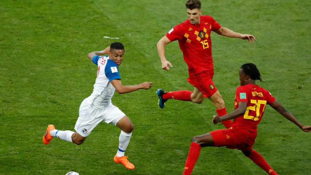 Panamá en el partido ante Bélgica